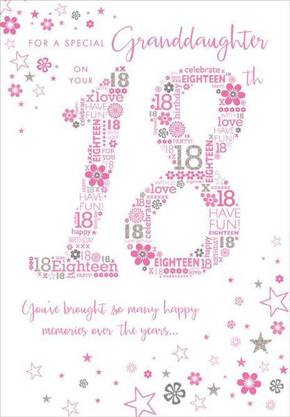 Granddaughter 18th Birthday - 18th Pink Text