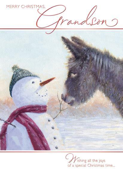 Christmas Card - Grandson - Snowman and Donkey