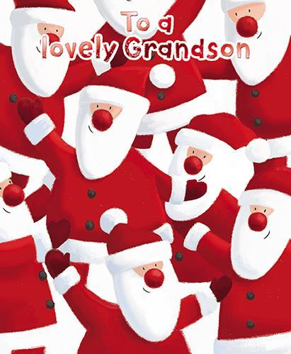 Christmas Card - Grandson - Happy Santa's