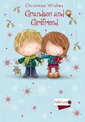 Christmas Card - Grandson and Girlfriend - Young Couple/Mistletoe