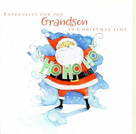 Christmas Card - Grandson - Jolly Santa