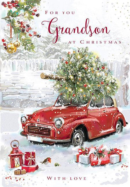 Christmas Card - Grandson - Collecting The Tree