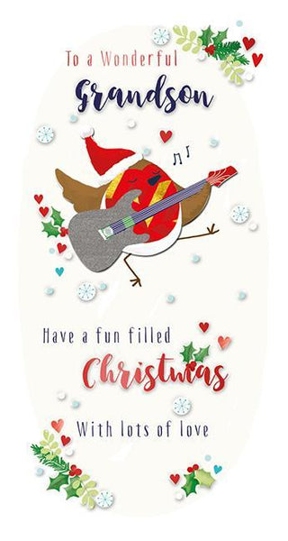 Christmas Card - Grandson - Guitar Robin