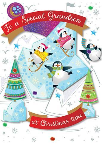 Christmas Card - Grandson - Penguin Party