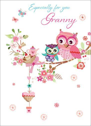 Granny Birthday - Owls Tea Party