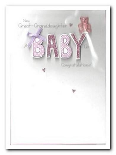 New Baby Card - Baby Great-Granddaughter - Pink Bear