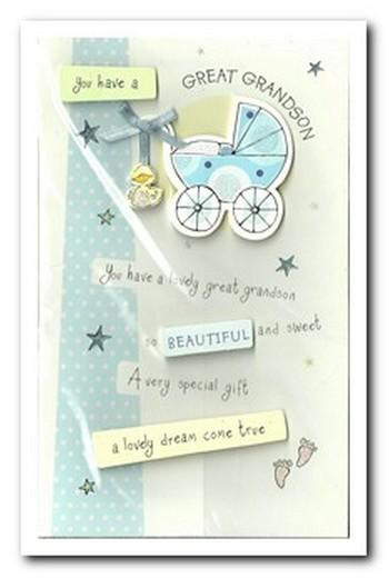 New Baby Card - Baby Great-Grandson - Blue Pram