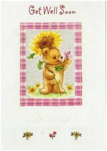 Get Well Soon Card - Bear With Sunflower