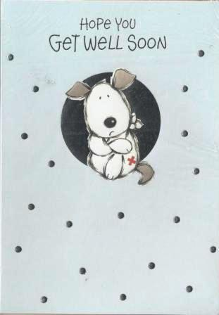 Get Well Soon Card - Dog With Leg In Sling