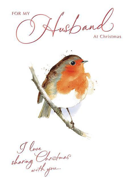 Christmas Card - Husband - Robin On Branch