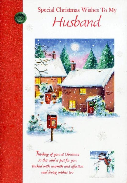 Christmas Card - Husband - Christmas Village Post Box