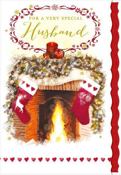 Christmas Card - Husband - Stockings/Roaring Fire