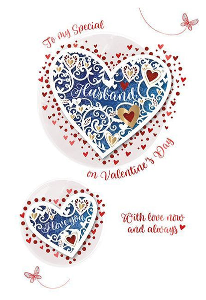 Valentine Card - Husband - Blue Heart
