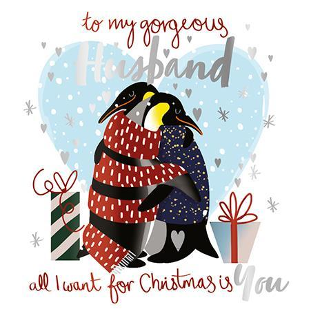 Christmas Card - Husband - Penguins