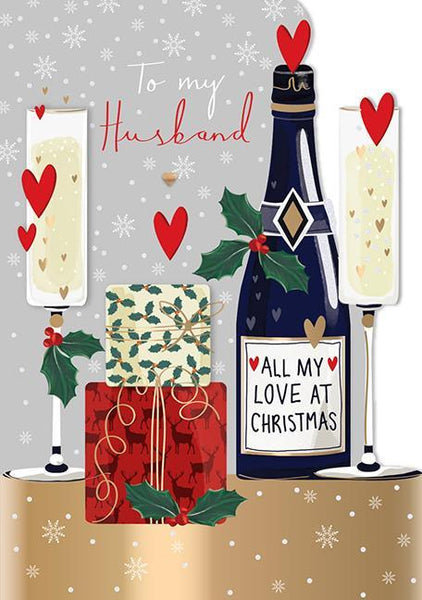 Christmas Card - Husband - Presents And Fizz