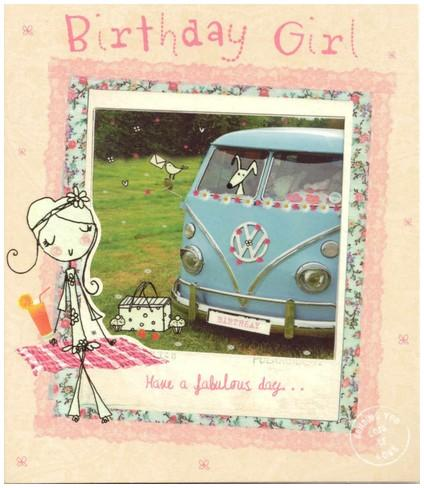 Birthday Card - Birthday Girl Campervan
