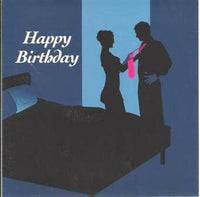 Birthday Card - Silhouettes Blue Background