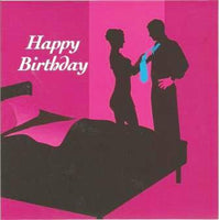 Birthday Card - Silhouettes Pink Background