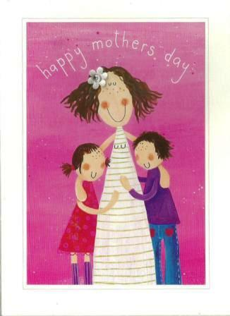 Mother's Day Card - Mum Hugging Boy & Girl