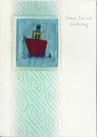 Leaving / Goodbye Card - Fabric Ship