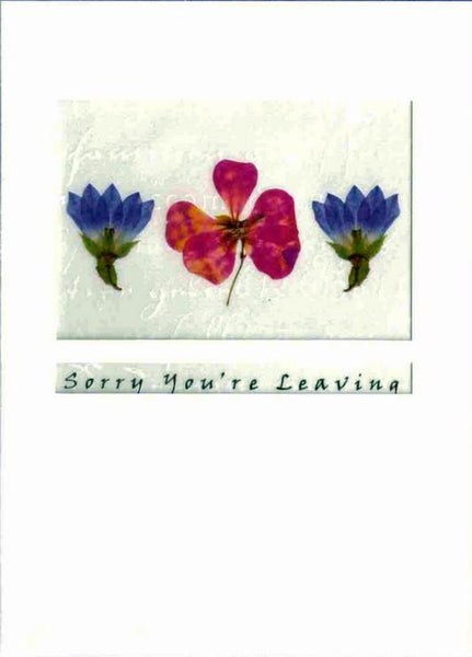Leaving / Goodbye Card - 2 Blue + Pansy
