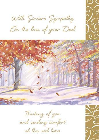 Sympathy Card - Loss Of Dad - Falling Leaves