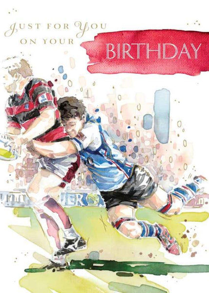 Birthday Card - Rugby Tackle