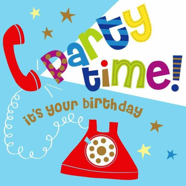 Children's Birthday Card - Party Time