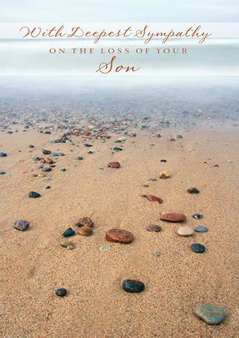 Sympathy Card - Loss Of Son - Stoney Beach After Sunset