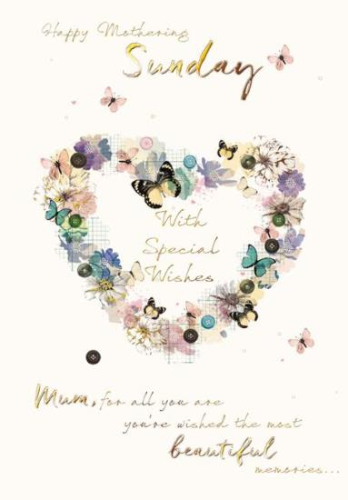 Mother's Day Card - Flower and Butterfly Heart