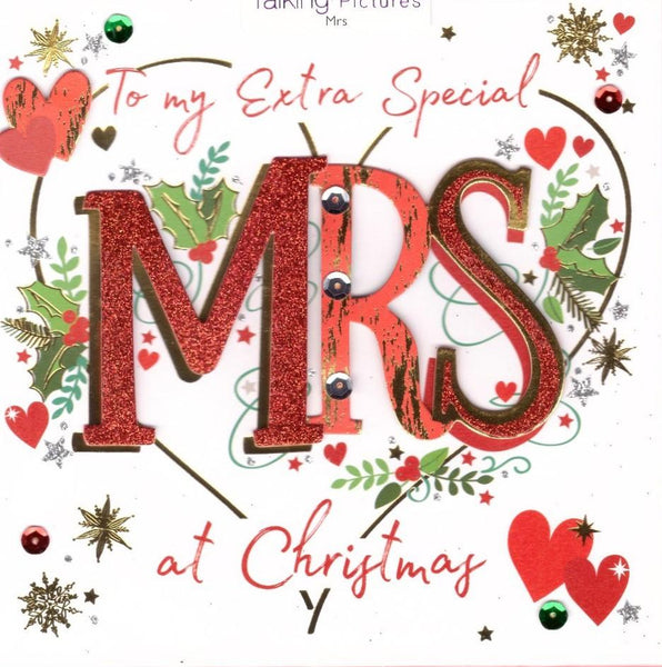 Christmas Card - One I Love - Extra Special Mrs