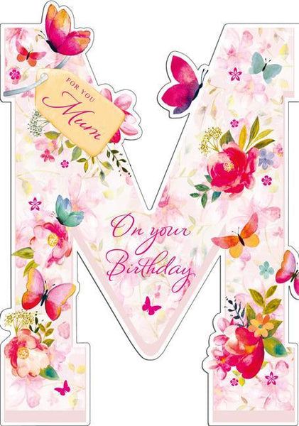 Mum Birthday - Butterfly Pink Text