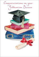Congratulations Card - Graduation - Books/Mortar Board