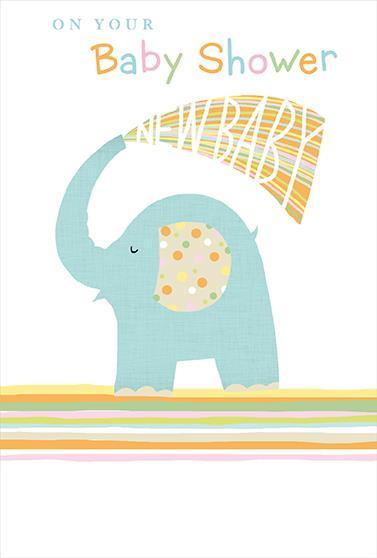 New Baby Card - Baby Shower - Elephant Shower