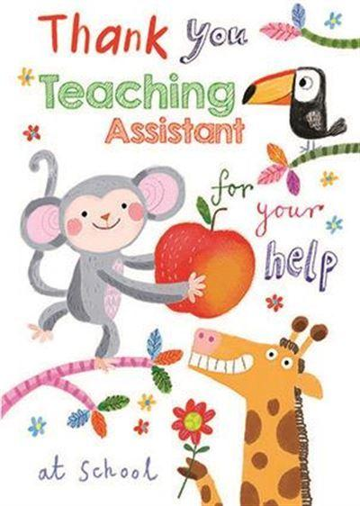Thank You Card - Teaching Assistant - Monkey With Apple