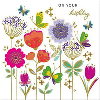 Birthday Card - Wild Flowers & Butterflies