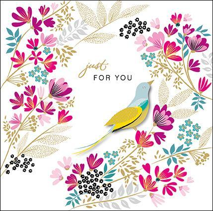 Birthday Card - Bird In Flowers