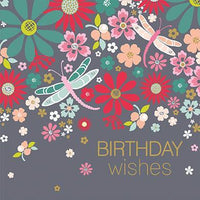 Birthday Card - Graphic Flowers & Dragonflies