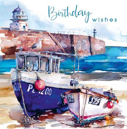 Birthday Card - Harbour Boats