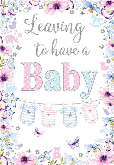 Leaving Card - Leaving To Have A Baby - Pink Blue Flowers