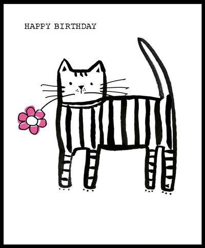 Children's Birthday Card - Cat With Flower