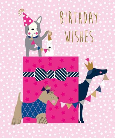 Children's Birthday Card - Present and Dogs