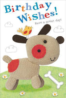 Children's Birthday Card - Knitted Dog/Bird