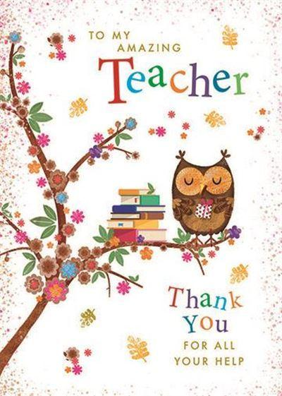 Thank You Card - Teacher - Brown Owl On Branch
