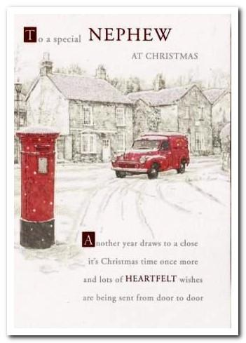 Christmas Card - Nephew - Post Box and Post Van