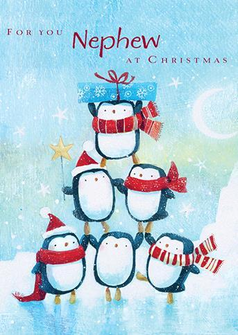 Christmas Card - Nephew - Penguin Fun
