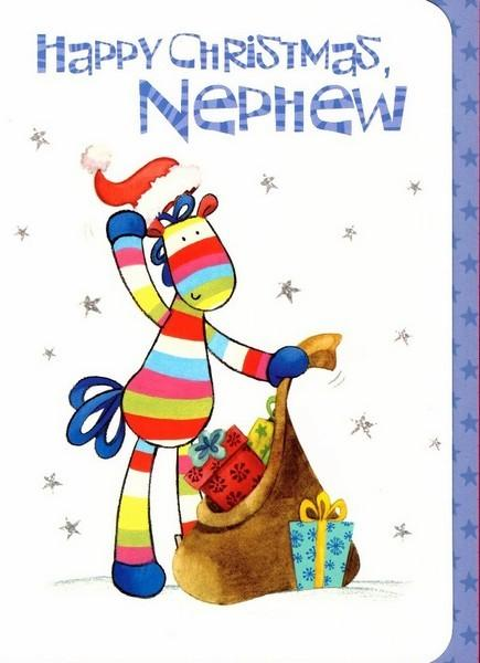 Christmas Card - Nephew - Stripy & Sack Presents