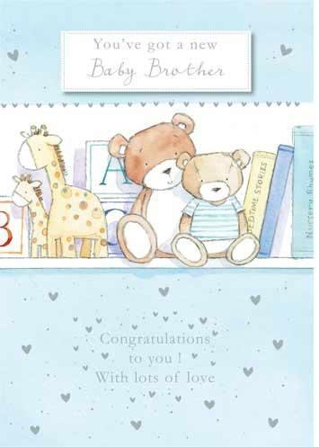 New Baby Card - Baby Boy - New Baby Brother Top Shelf