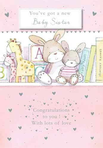 New Baby Card - Baby Girl - New Baby Sister Top Shelf