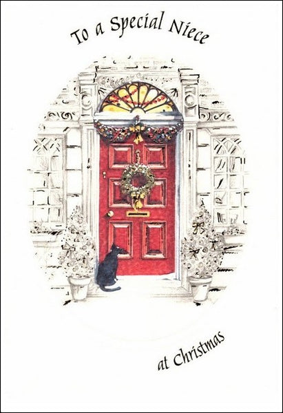 Christmas Card - Niece - Black Cat at Front Door